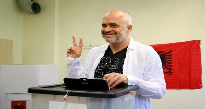 Albanian Socialist Party leader Edi Rama casts his vote during the parliamentary elections in Surel near Tirana, Albania June 25, 2017. REUTERS/Florion Goga