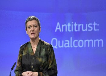 EU Competition Commissioner Margrethe Vestager gives a joint press conference at the EU Headquarters in Brussels, on January 25, 2018 as the EU hit US chipmaking giant Qualcomm with an antitrust fine of 997 million euros ($1.2 billion) for paying Apple to use its chips exclusively in iPhones and iPads.  / AFP PHOTO / JOHN THYSJOHN THYS/AFP/Getty Images