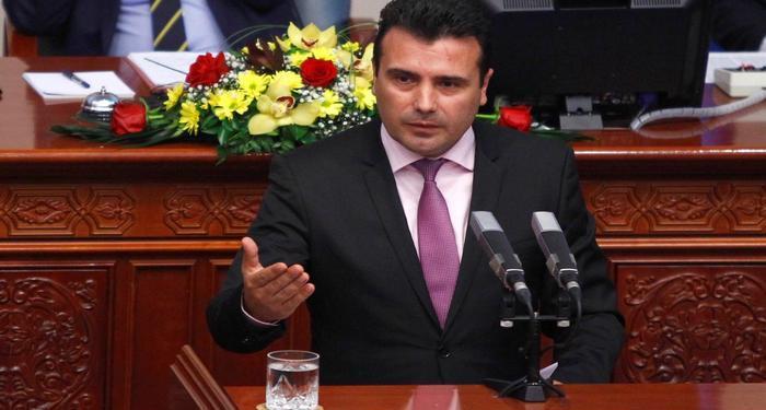 Newly elected Prime Minister Social Democrat leader Zoran Zaev speaks in the parliament in Skopje, Macedonia June 1, 2017.   REUTERS/Ognen Teofilovski