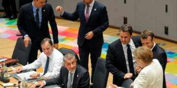 (FromL) Spain's Prime Minister Pedro Sanchez, Sweden's Prime Minister Stefan Lofven, Czech Republic's Prime Minister Andrej Babis, Slovakia's Prime Minister Peter Pellegrini, Luxembourg's Prime Minister Xavier Bettel, France's President Emmanuel Macron and Germany's Chancellor Angela Merkel attend an European Council meeting at The Europa Building in Brussels, on June 20, 2019. (Photo by JOHANNA GERON / POOL / AFP)        (Photo credit should read JOHANNA GERON/AFP/Getty Images)