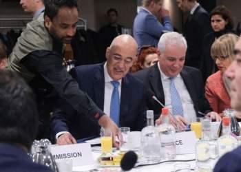 A breakfast meeting organized by Greek delegation to focus on North Macedonia and Albania, ahead of a EU Foreign Affairs Council in Brussels, Belgium on 09 December 2019. / Υπουργός Εξωτερικών Νίκος Δένδιας παραθέτει πρόγευμα εργασίας στους Υπουργούς Εξωτερικών των χωρών μελών της Ε.Ε. με την συμμετοχή των Υπουργών Εξωτερικών της Βόρειας Μακεδονίας και της Αλβανίας στο πλαίσιο της ενίσχυσης της ευρωπαικής προοπτικής των δύο χωρών στις Βρυξέλλες, Βέλγιο στις 9 Δεκεμβρίου, 2019.