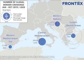 Χάρτης προσφυγικών ροών της Frontex