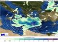 Χάρτης 1. Θέση βαρομετρικού χαμηλού και υετός (βροχή/χιόνι) το πρωί της Δευτέρας 18/1