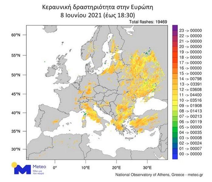 Πάνω από 19.000 κεραυνοί στην Ευρώπη την Τρίτη