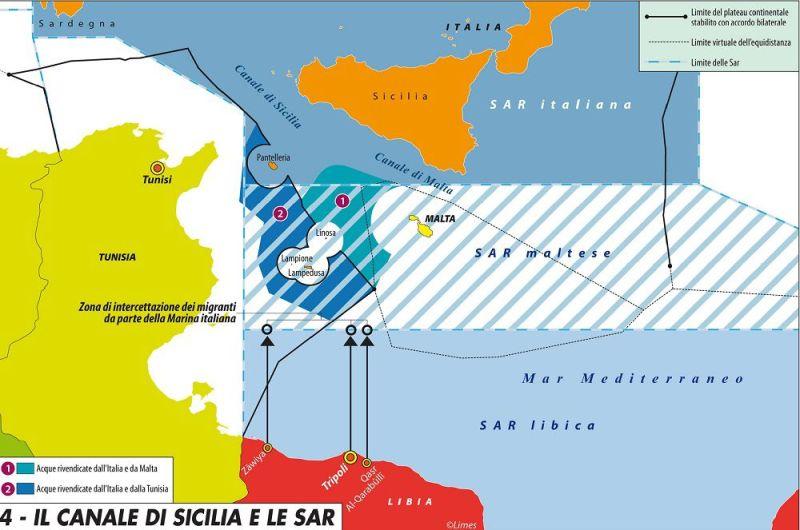 Zone SAR tra Africa e Sicilia