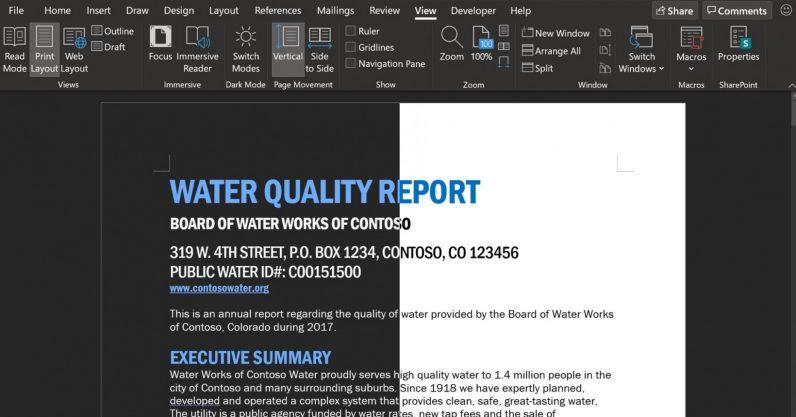 Modul întuneric în Microsoft Word