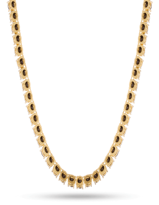 KING ICE 5mm, 14K Gold Single Row CZ Tennis Necklace