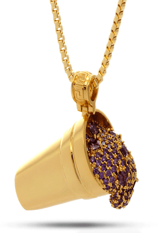 King Ice Jungl Julz 18K Gold Purple Drank Necklace