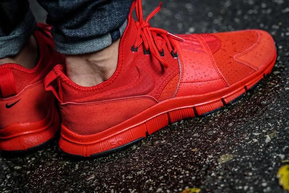 Nike Université Cuir Libre Ace Huaraches Rouge