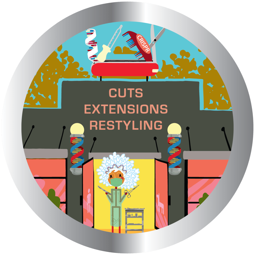 Cuts, Extensions, Restyling 9 Locations from CRISPR Ahead™ Picture Book by Dorothy Semenow Ph.D