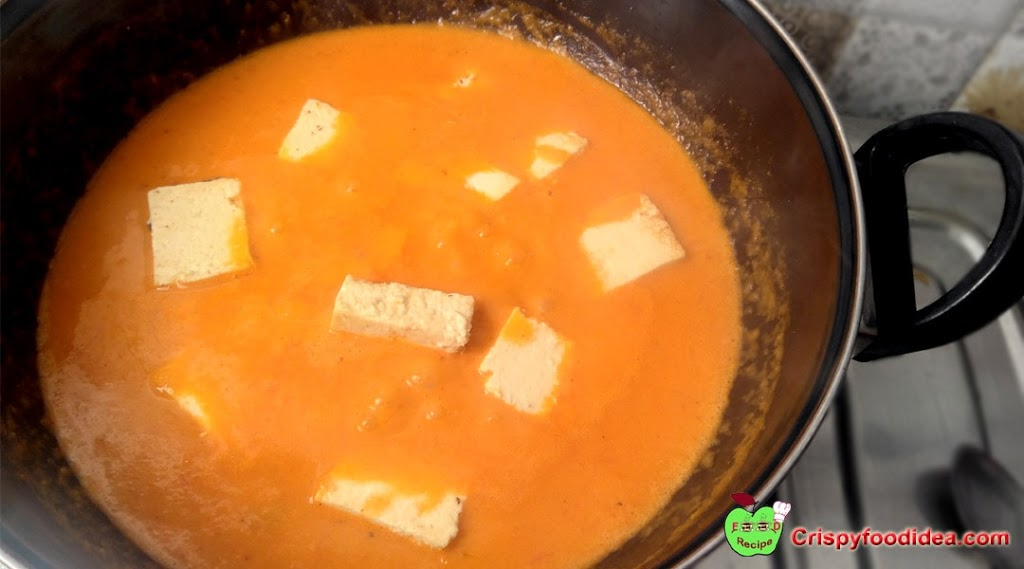 The mixture warms up to 2 or 3 minutes. Then add cubed Paneer in it and stir.