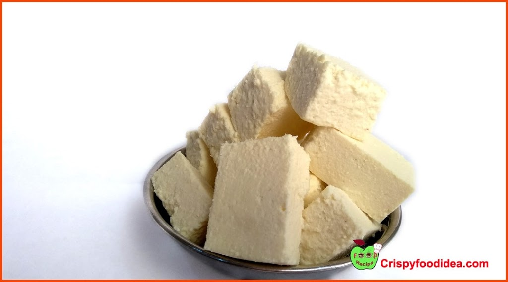 At first purchase, 250 grams fresh cottage cheese from the market, then cut into cube shape