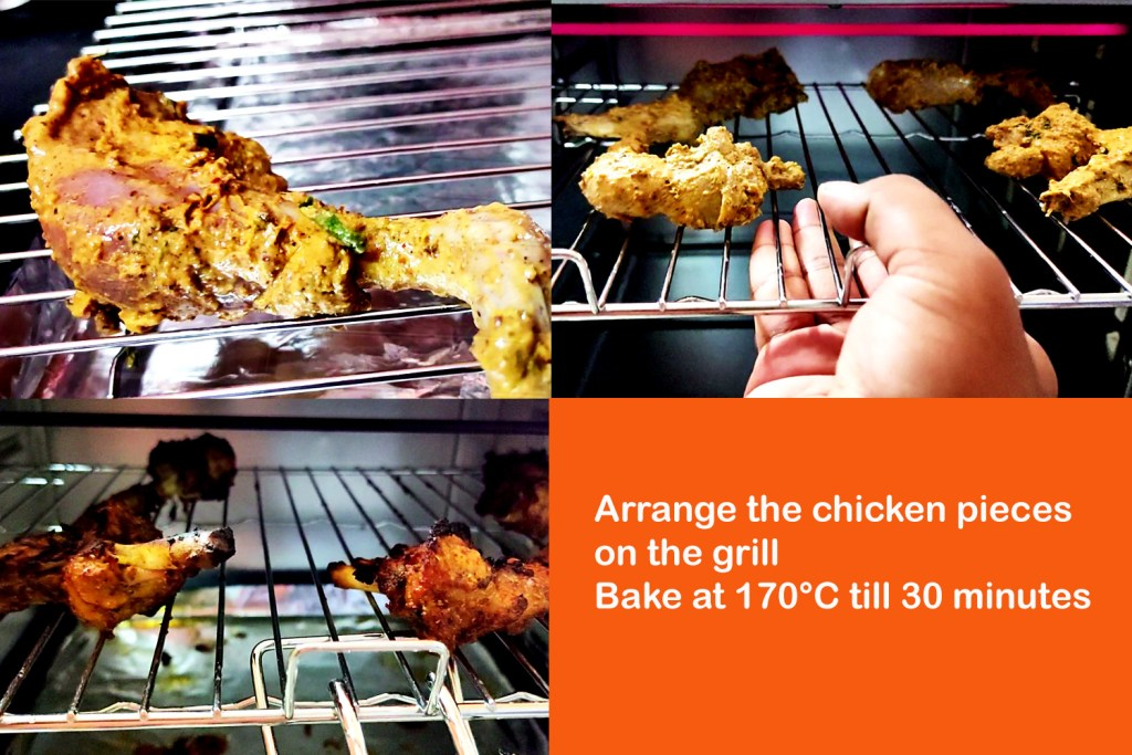 Baking process of Chicken Tandoori