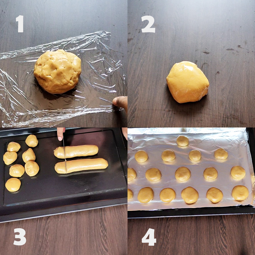 Arrange the cookies on the baking tray