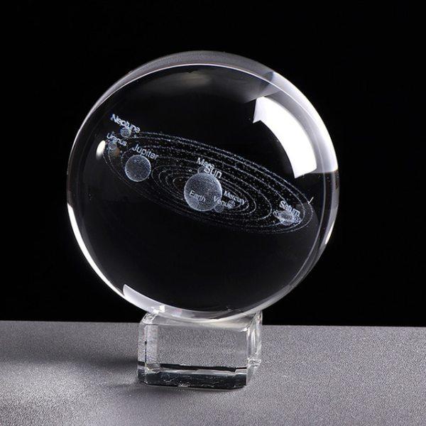 Système Solaire Boule Cristal 3D Laser
