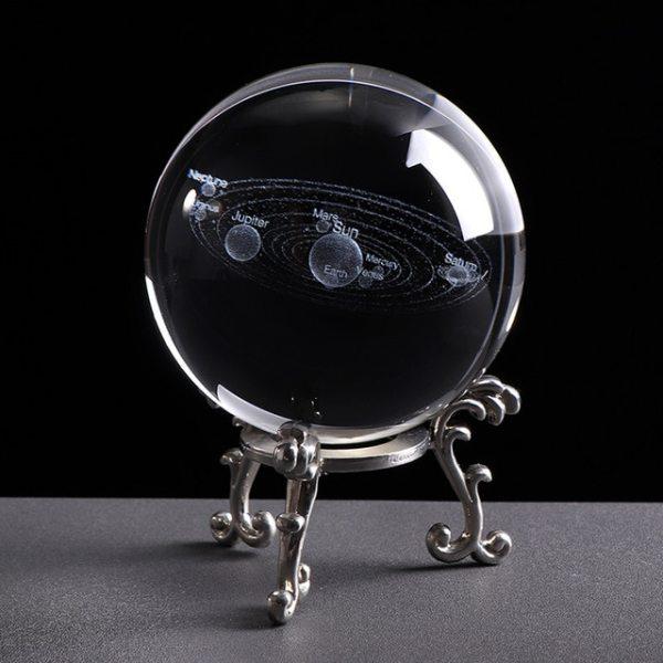 Système Solaire Boule Cristal 3D Laser Argent