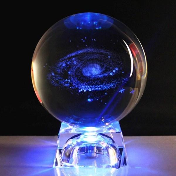 Socle Led Boule Cristal Galaxie