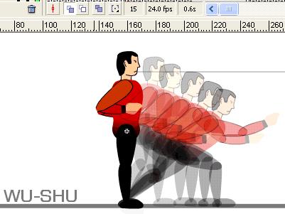 Maniqui con el papel de cebolla activado, mostrando la sucesión de fotogramas que va por delante.