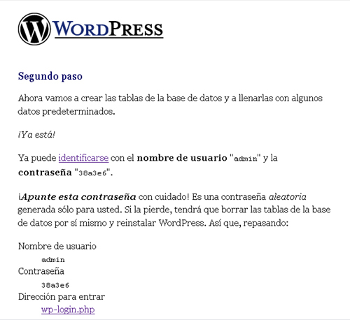 Segundo Paso WordPress