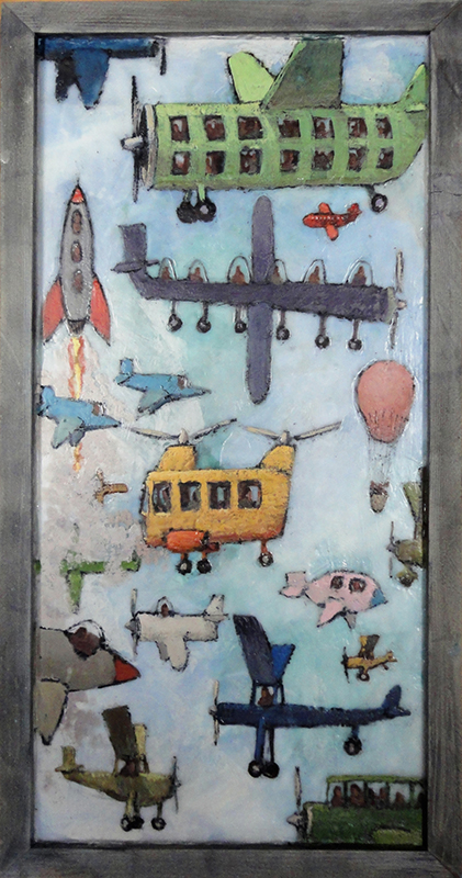 Bruce Turnbull, Sky-Travellers-encaustic, 29.75x15-inches
