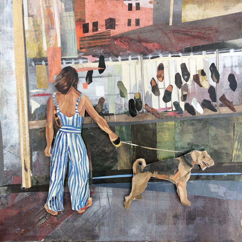 Jessie McNeil, Bordeaux-Shoe-Shop, collage, contemporary art, Vancouver, Elissa Cristall Gallery