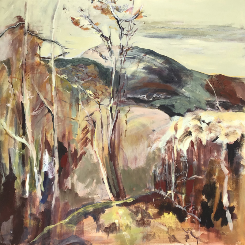 Lesley Finlayson, filter/ed #2, impressionist landscape, acrylic on canvas, 48 x 48 inches-Elissa Cristall Gallery