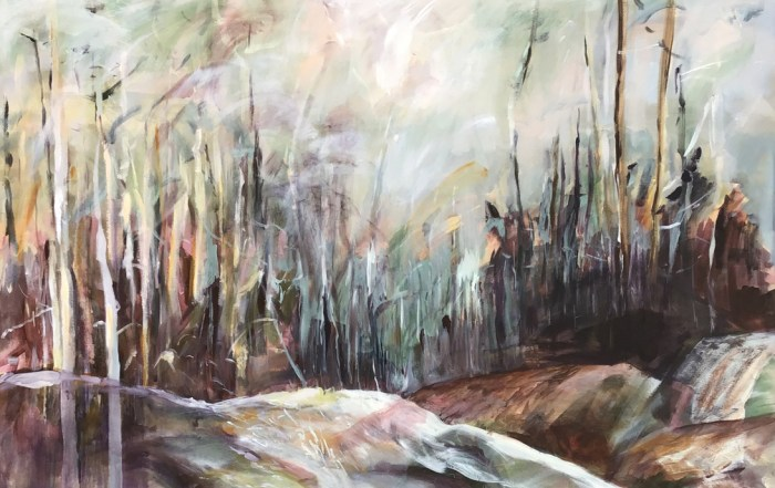 Lesley Finlayson, filter/ed #4, impressionist landscape, acrylic on canvas, 40 x 60 inches-Elissa Cristall Gallery