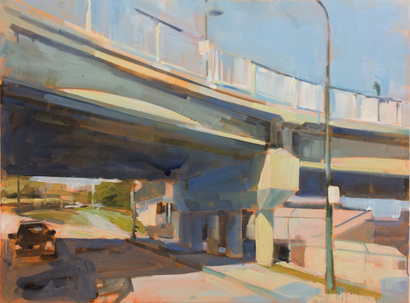 Gillian Richards, Overpass, urban landscape, acrylic on canvas, Elissa Cristall Gallery