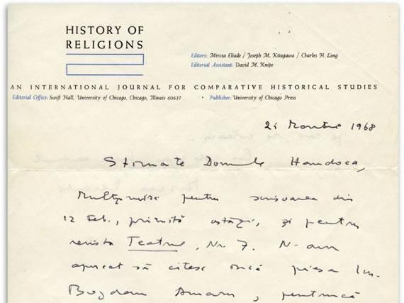Corespondența Eliade. Mircea Eliade către Mircea Handoca, 21 martie 1968