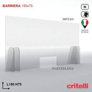 Barriera parafiato con schermo trasparente 150x75