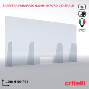 Barriera parafiato trasparente antiurto 200x100