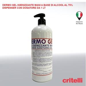 gel igienizzante mani Dermogel base alcool isopropilico al 75 percento