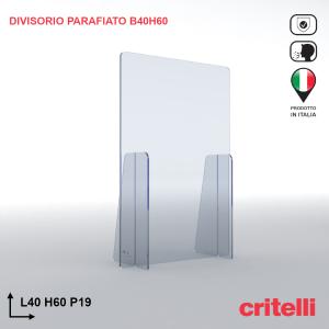 Divisorio barriera parafiato antiurto separè trasparente 40X60