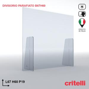 Divisorio barriera parafiato antiurto separè trasparente 67X60S3