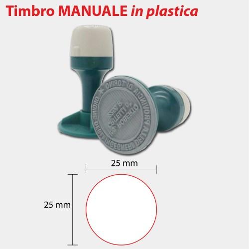 TIMBRO MANUALE TONDO IN PLASTICA 25x25-