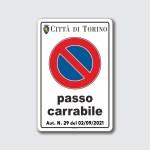 cartello segnale passo carrabile a norma torino