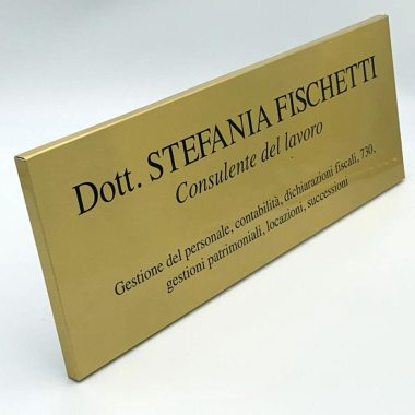 Targa scatolata alluminio oro