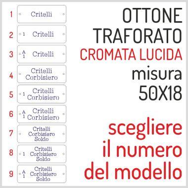 TARGHETTA IN OTTONE CROMATO 50X18