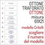 TARGHETTA OTTONE CRITELLI TRAFORATA MISURA 61X21