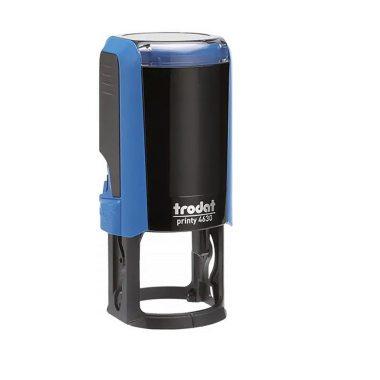 TRODAT PRINTY 9342 Timbro Autoinchiostrante Rotondo Blu Diametro Ø 30 mm Testo a 4 righe con Cartuccia Nera