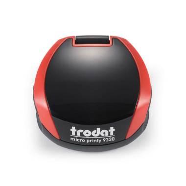 Timbro Autoinchiostrante Tascabile Trodat Micro Printy 9330 compreso di Impronta Laser in Gomma Rotonda D 30 mm rosso fuoco
