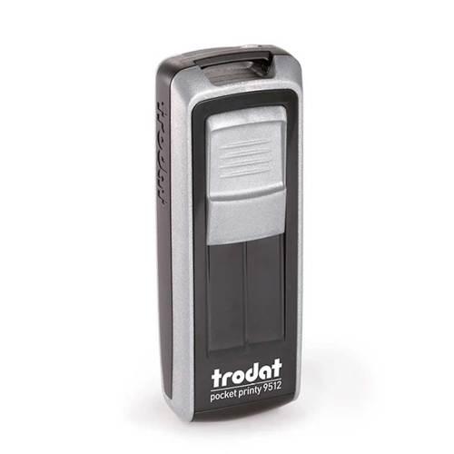 Timbro Autoinchiostrante Tascabile Trodat Pocket Printy 9512 Nero-Silver compreso di Impronta Laser in Gomma 47 x 18 mm