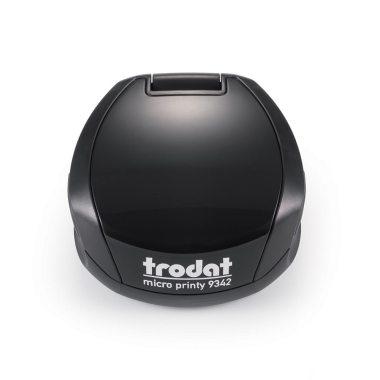 TRODAT PRINTY 9342 Timbro Autoinchiostrante Rotondo Eco Nero Diametro Ø 42 mm Testo a 5 righe con Cartuccia Nera