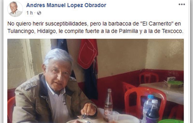 ¿Qué dice AMLO de la barbacoa de Hidalgo?