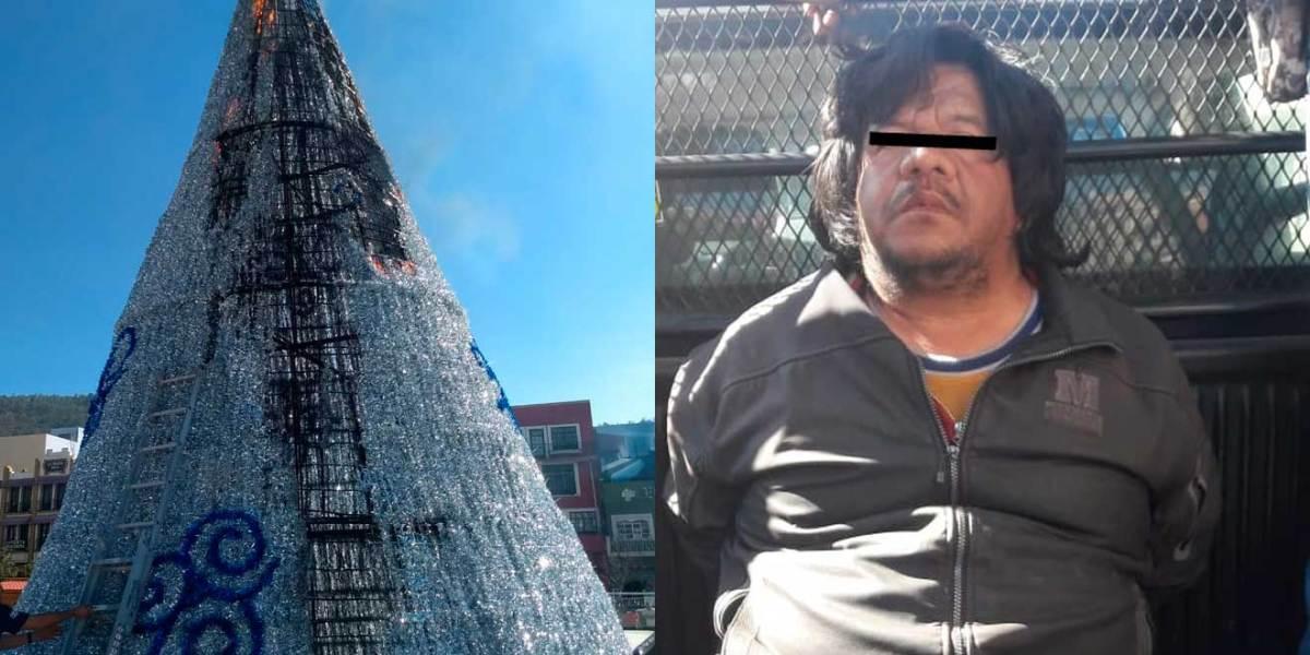 Detienen a un hombre por incendiar el árbol navideño de Pachuca
