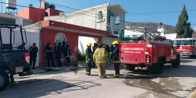 Reportan incendio en domicilio de la colonia Pirantos, Pachuca