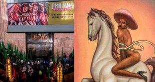 Irrumpe UNTA en Bellas Artes por pintura de Emiliano Zapata