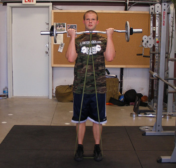 Resistance Band Barbell Curls Exercise Video Example