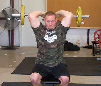 Overhead Tricep Extensions Exercise With Ez Curl Bar