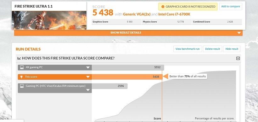 MSI Vortex FireStrike Ultra Result